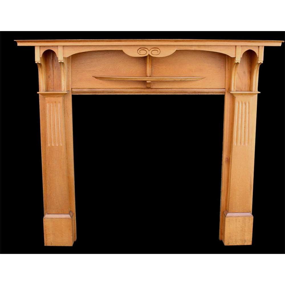 Original Edwardian Oak Fire Surround, Arts & Crafts