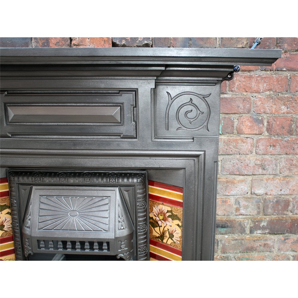 Victorian Tiled Reclaimed Fireplace Antique Cast Iron Fire Surrounds