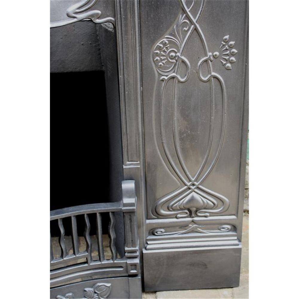Edwardian Combination Grate in Cast Iron Art Nouveau