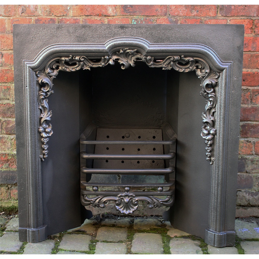 Original Early Victorian Cast Iron Arched Grate,