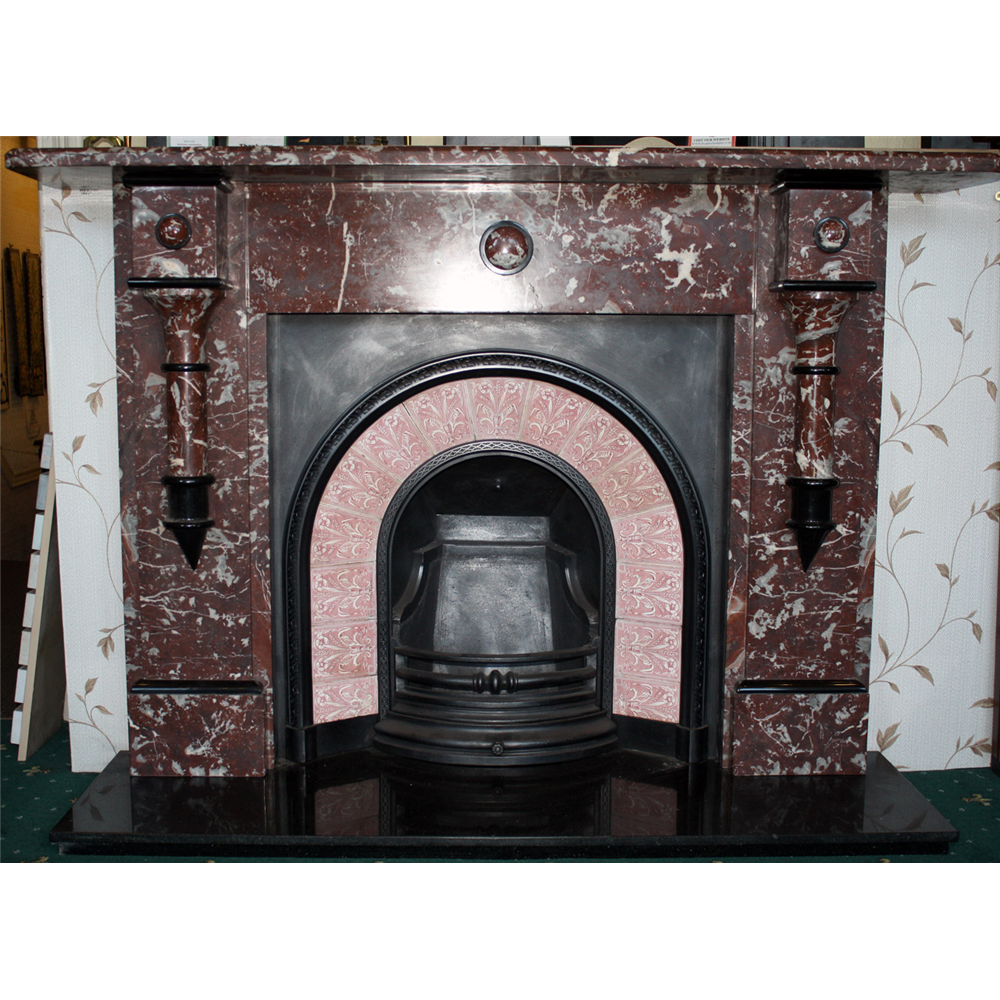 Antique Victorian Fire Surround in rouge and black marble