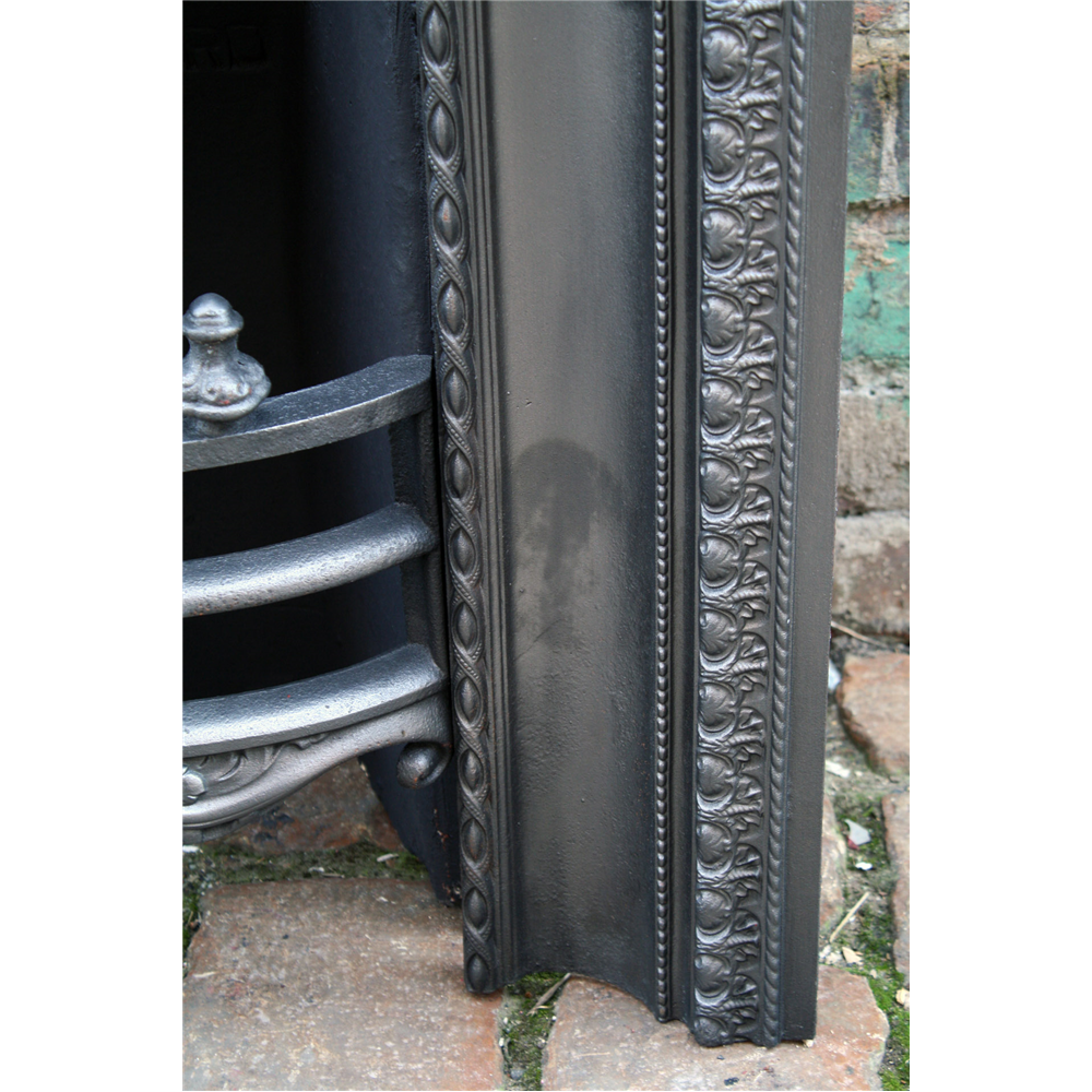 Victorian reclaimed arched cast iron fire grate register