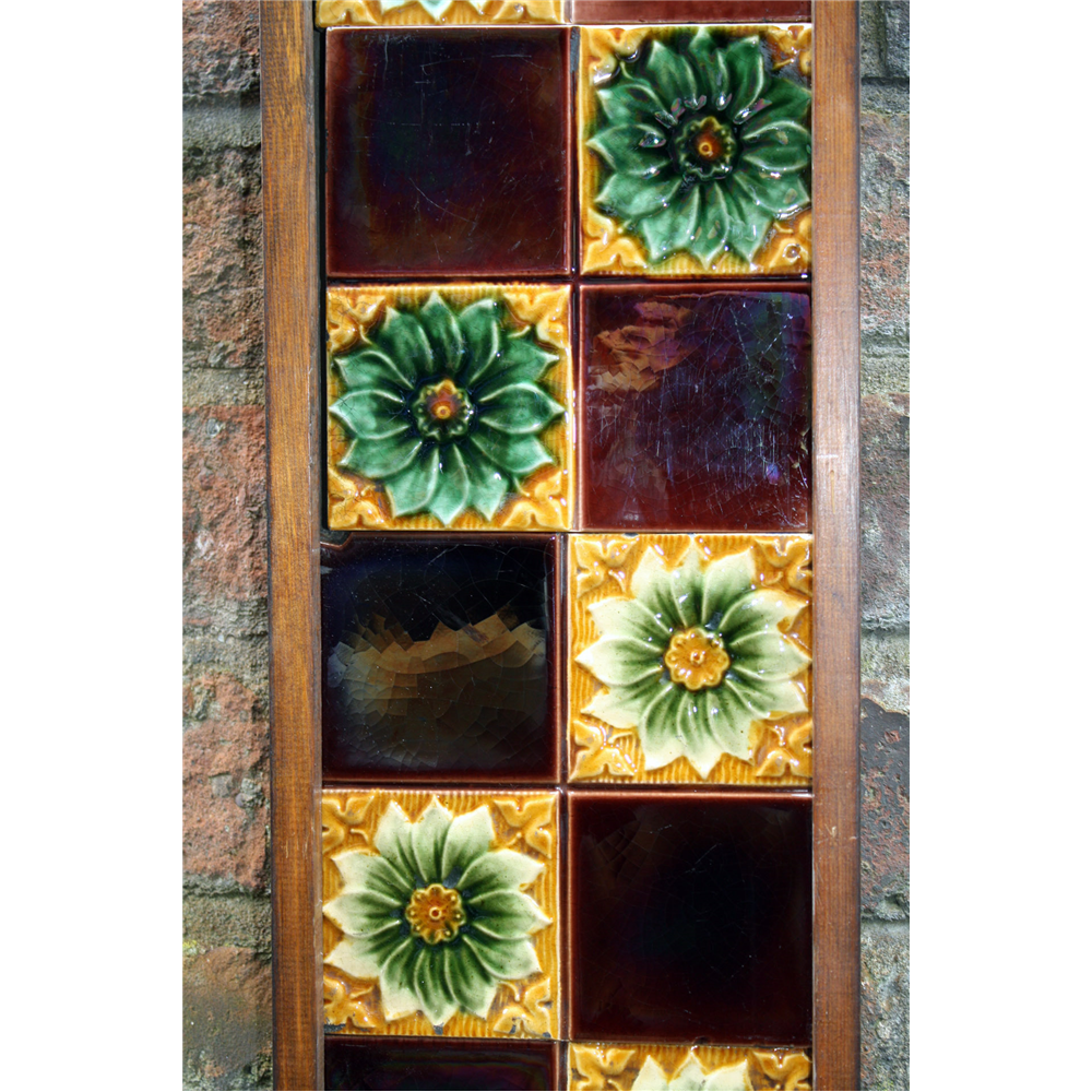 Set of Ten Victorian Fireplace quarter Tiles in Ceramic