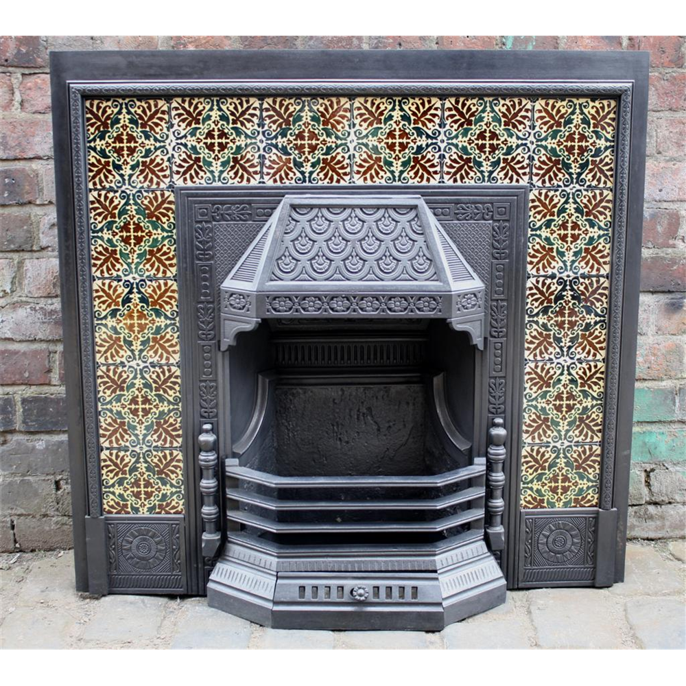 Original Late Victorian Cast Iron Tiled Grate,