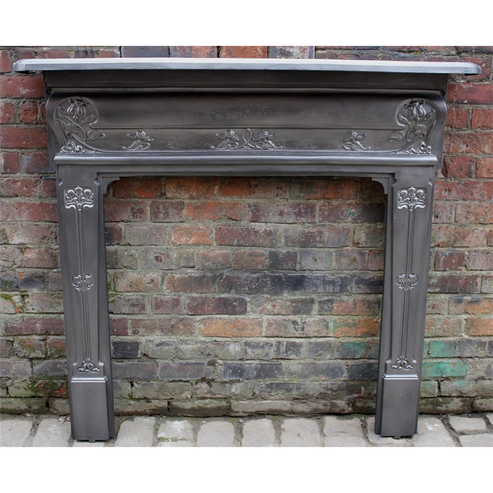 Edwardian Fire Surround in Cast Iron Art Nouveau - Edwardian Fire Surround In Cast Iron Art Nouveau Antique Cast
