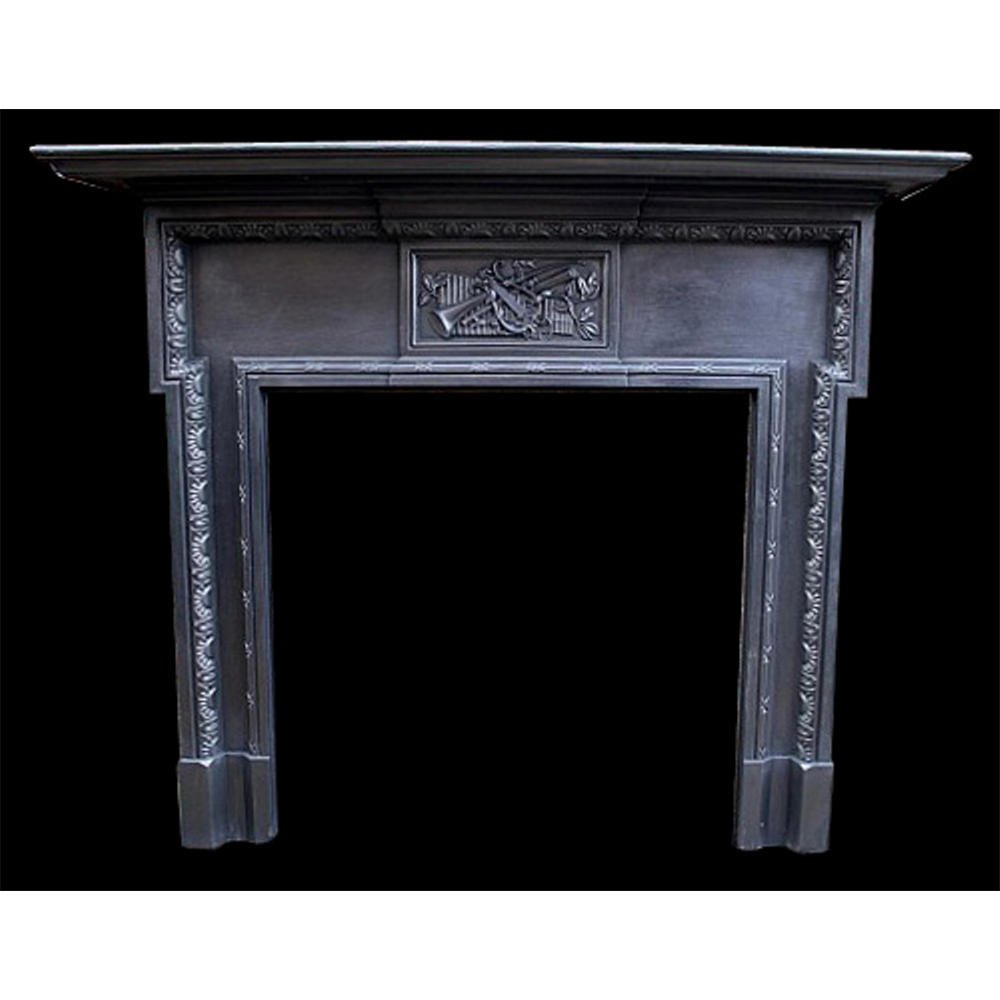 Antique Original Edwardian Cast Iron Fire Surround Musical Themed