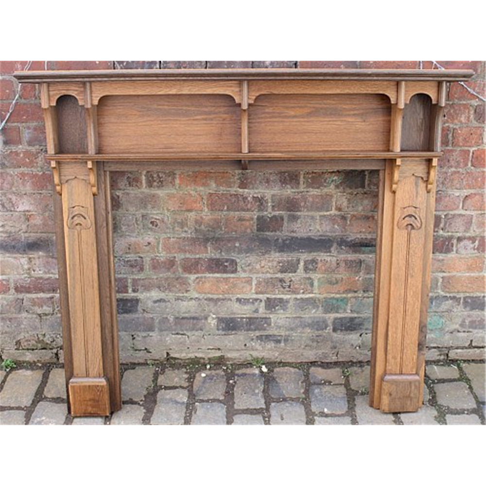 Edwardian Fire Surround In Oak Art Nouveau Oak Fire Surround - Wood