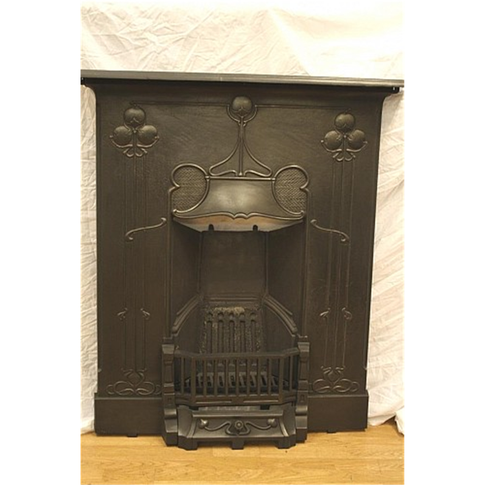Late Victorian Combination Grate In Cast Iron Art Nouveau