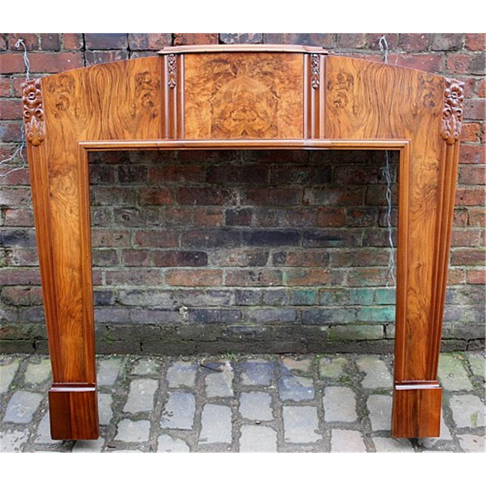 1920'S Antique French Style Burr Walnut Reclaimed Art Deco Fire Surround