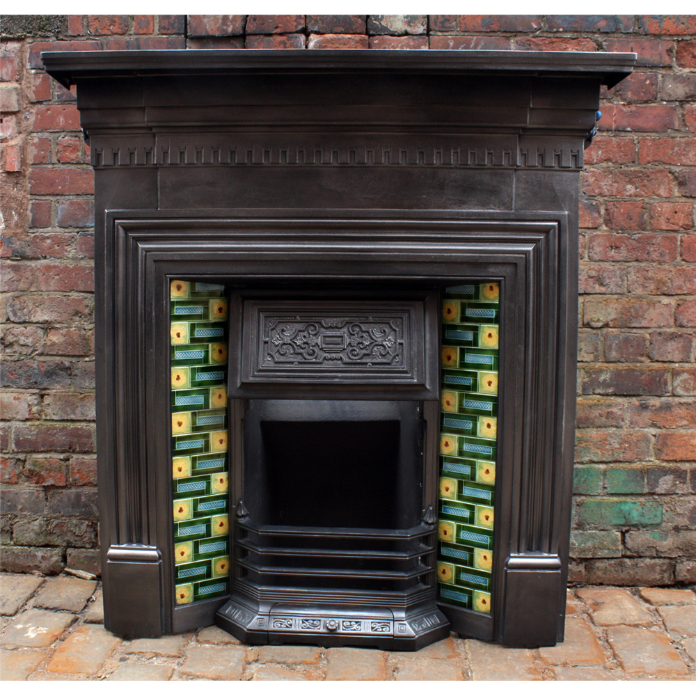 Edwardian Combination Grate In Cast Iron Tiled Combination Fireplace