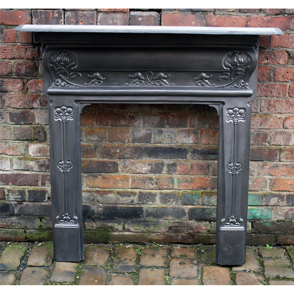 Small Cast Iron Art Nouveau Fire Surround