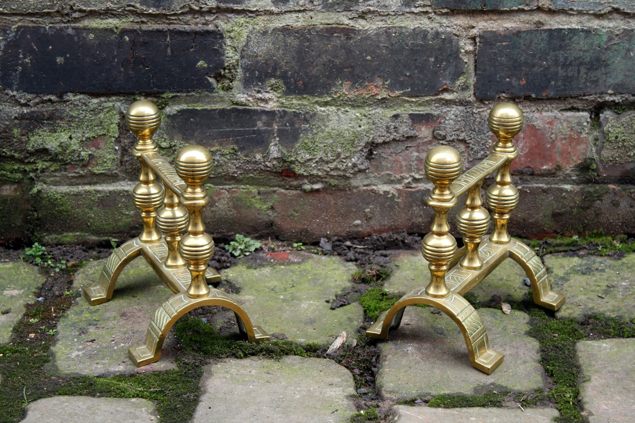 Victorian Brass Fire Dogs