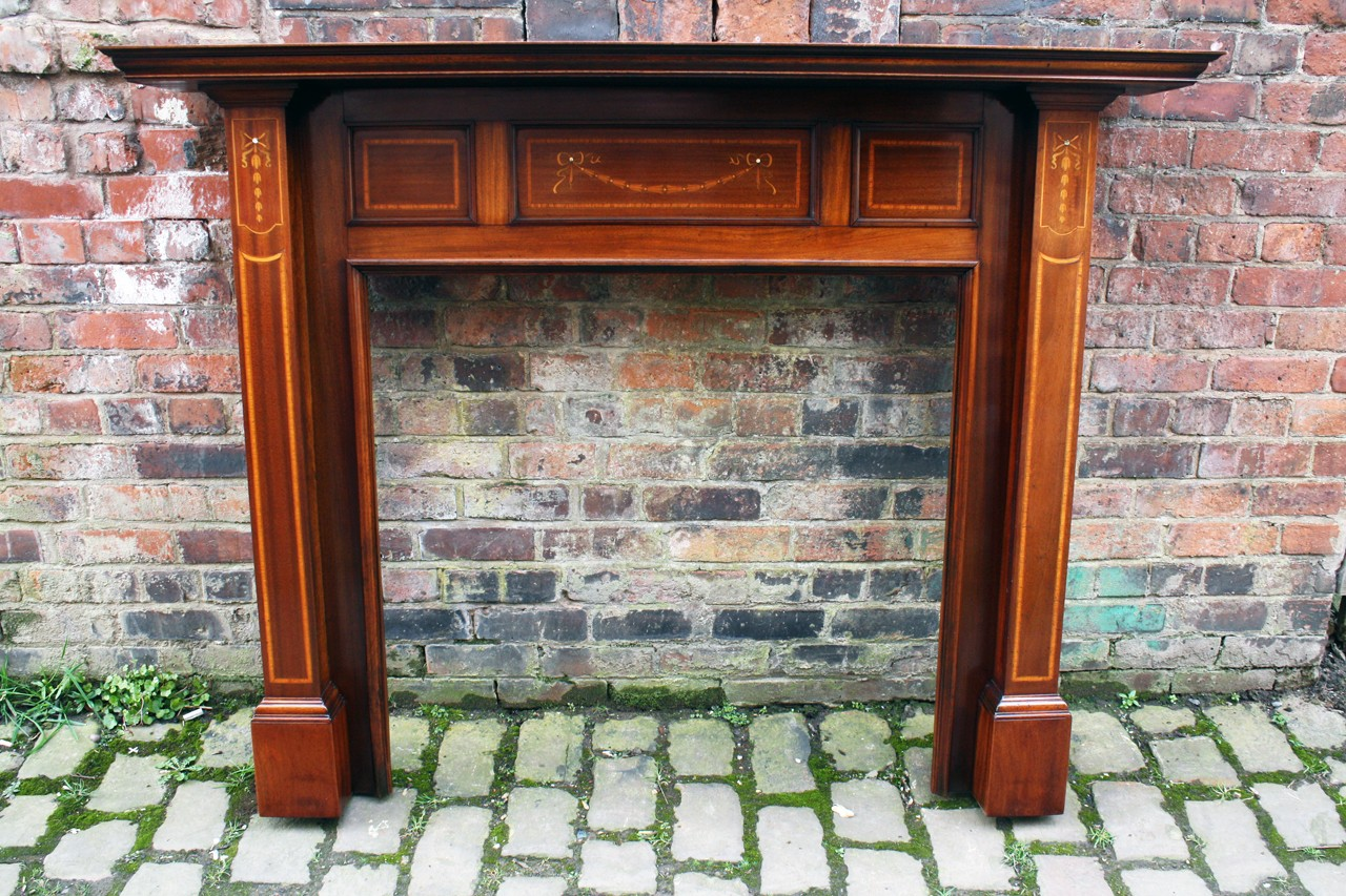 Antique Edwardian Mahogany Fire Surround