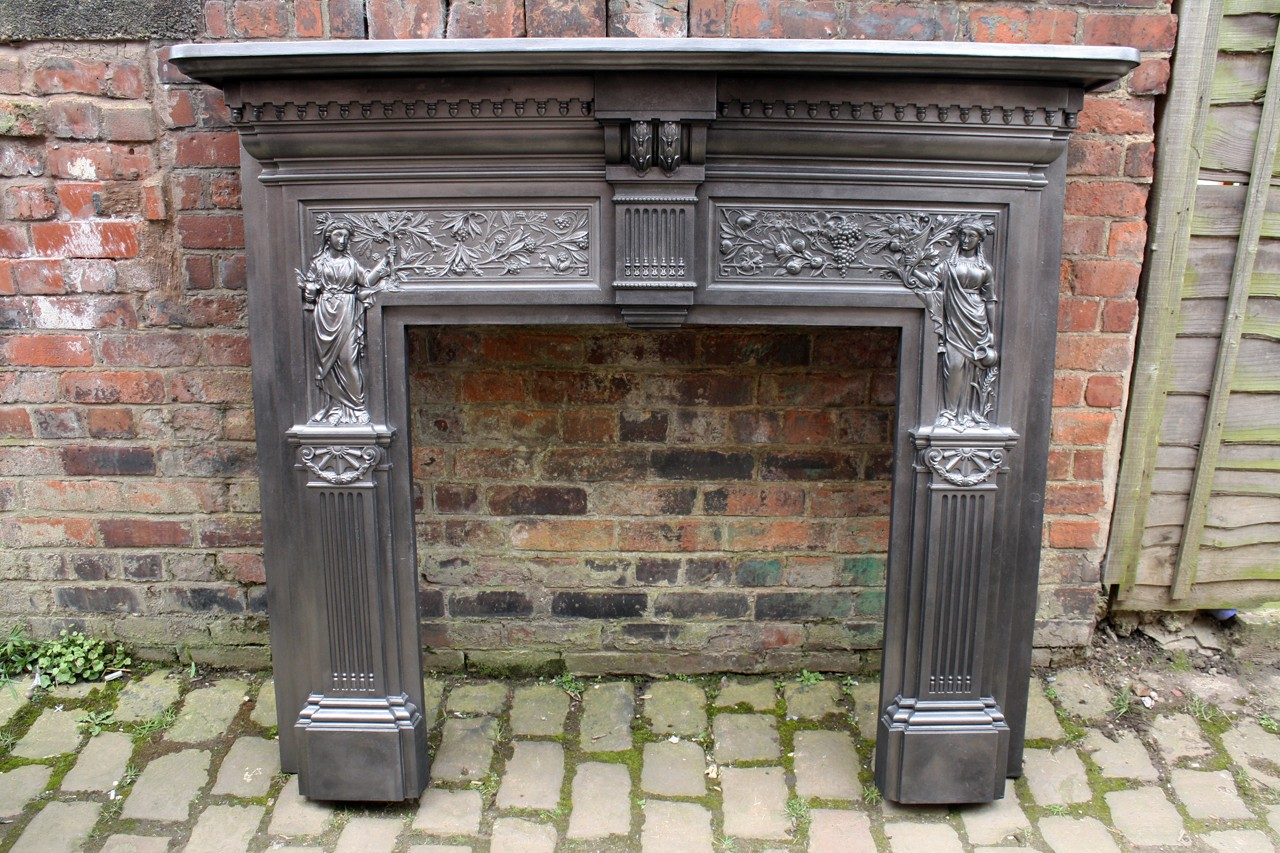 Antique original Victorian Cast iron Peace and Plenty Fire Surround