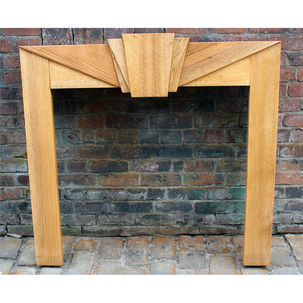 1930'S Fire Surround In Oak Art Deco Solid Oak