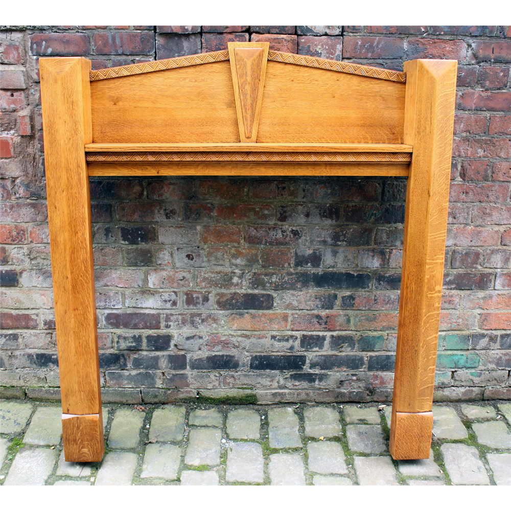 Original Reclaimed Solid Oak Art Deco Fire Surround