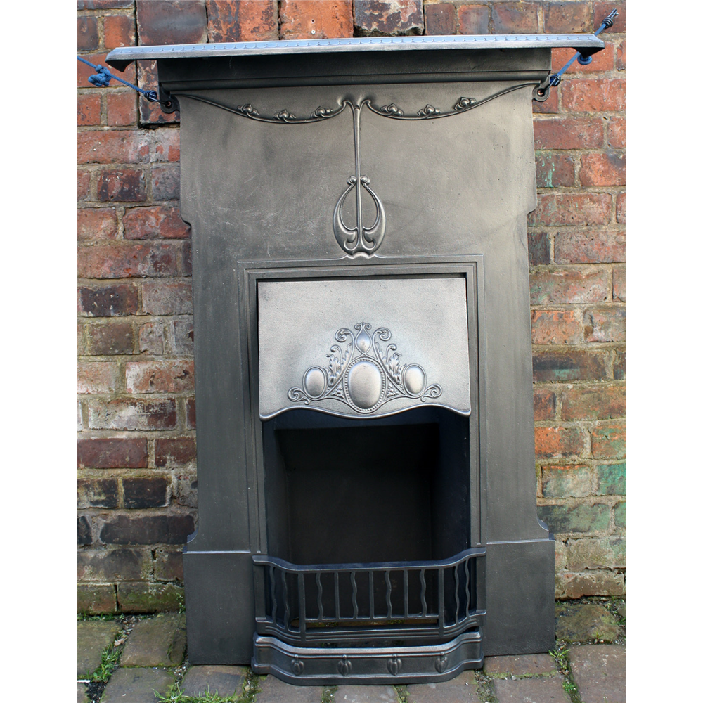 Tall Edwardian Art Nouveau Reclaimed Combination Fireplace