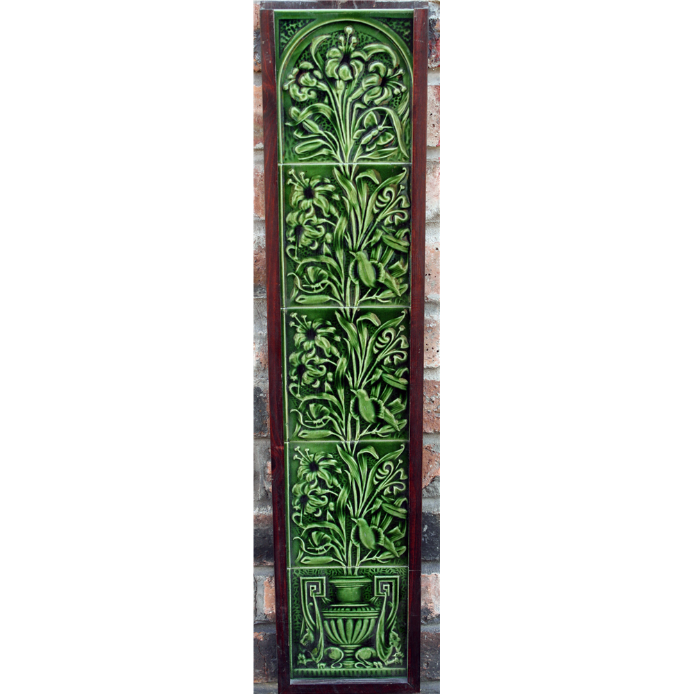 Antique Original Green Glazed Tile Panels