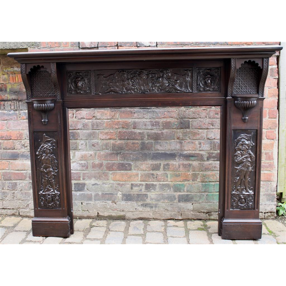 Late Victorian Arts & Crafts Restored Mahogany Fire Surround
