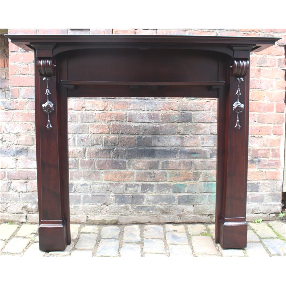 Restored Edwardian Mahogany Mantel Mahogany Fire Surround - Wood