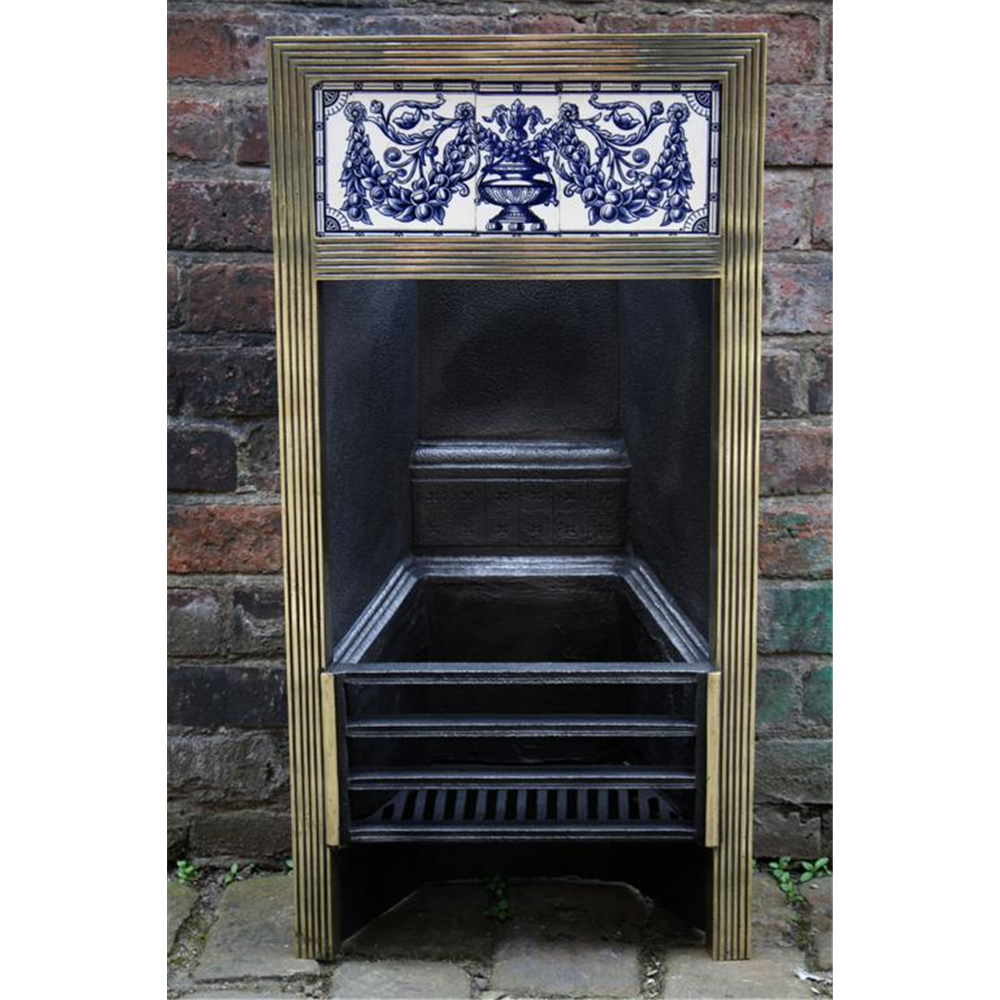 Victorian Tiled Grate In Brass