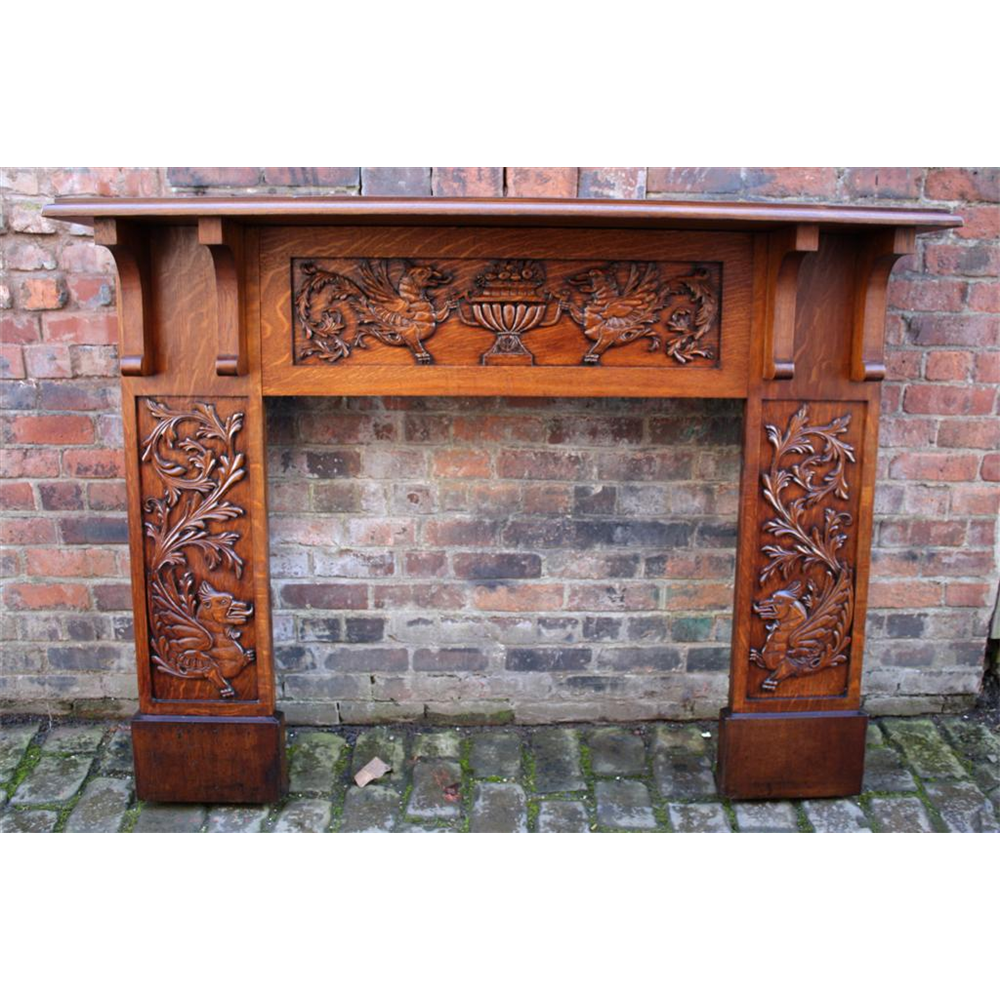 Edwardian Antique Oak Fire Surround