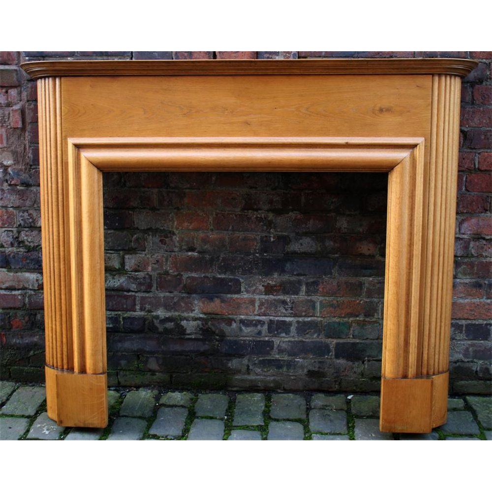 1920'S Original Antique Oak Art Deco Fire Surround