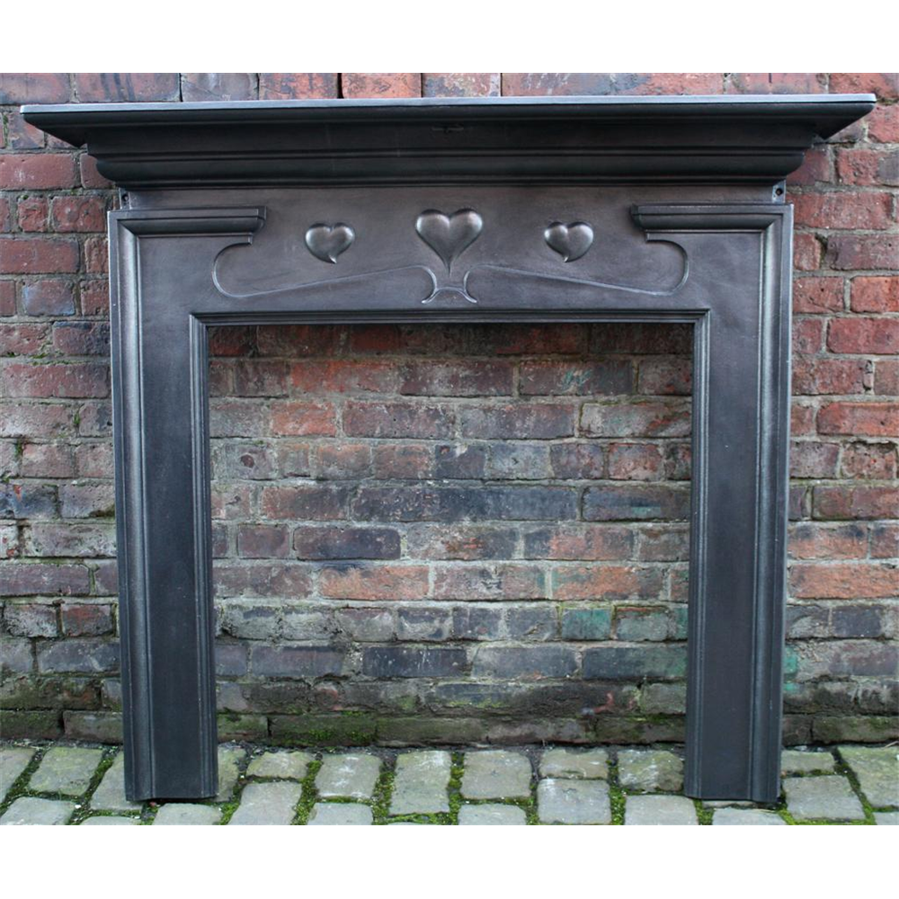 Late Victorian Fire Surround In Cast Iron Arts & Crafts Voysey Style Cast Iron Fire Surround