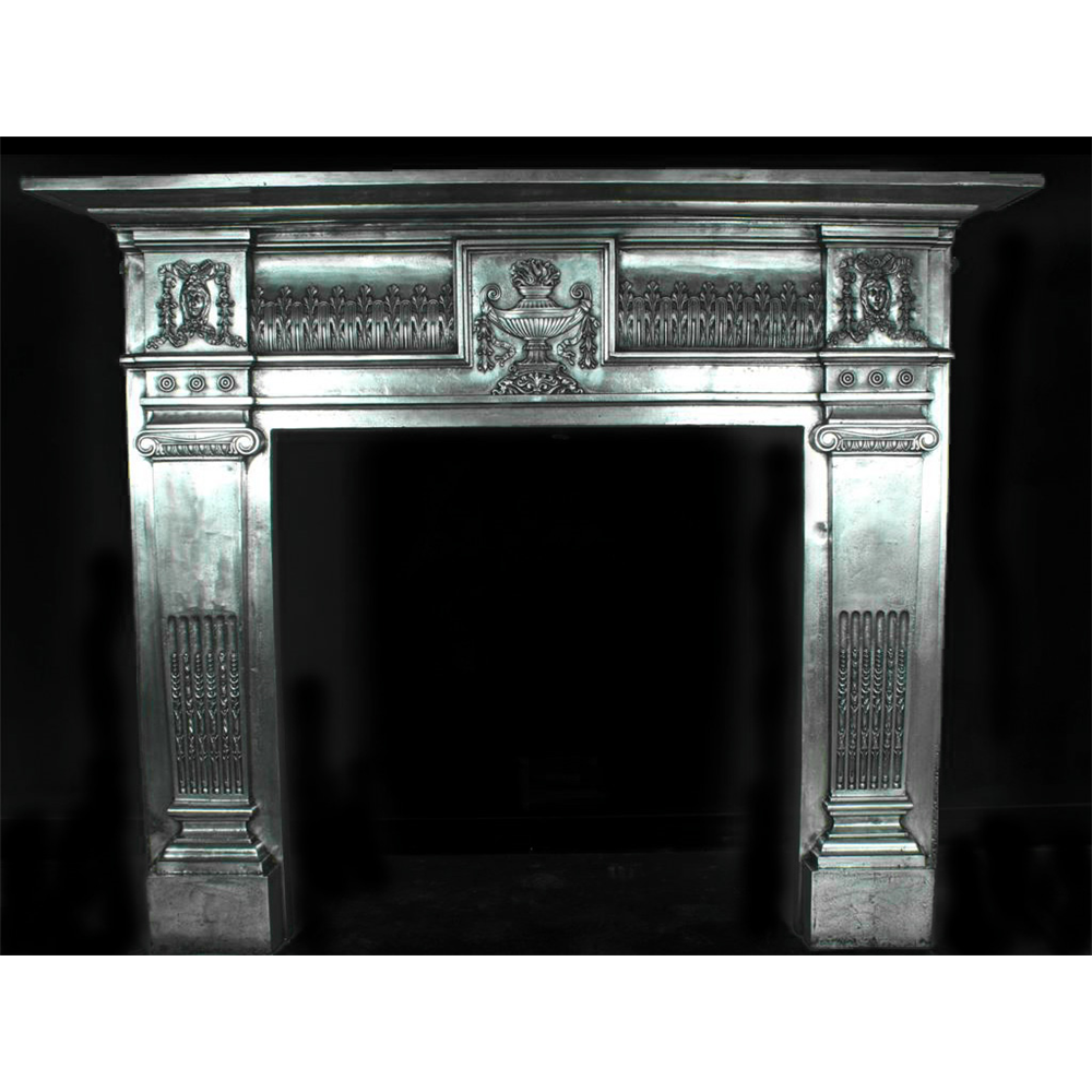 Large Polished Antique Neo Classical Cast Iron Fire Surround