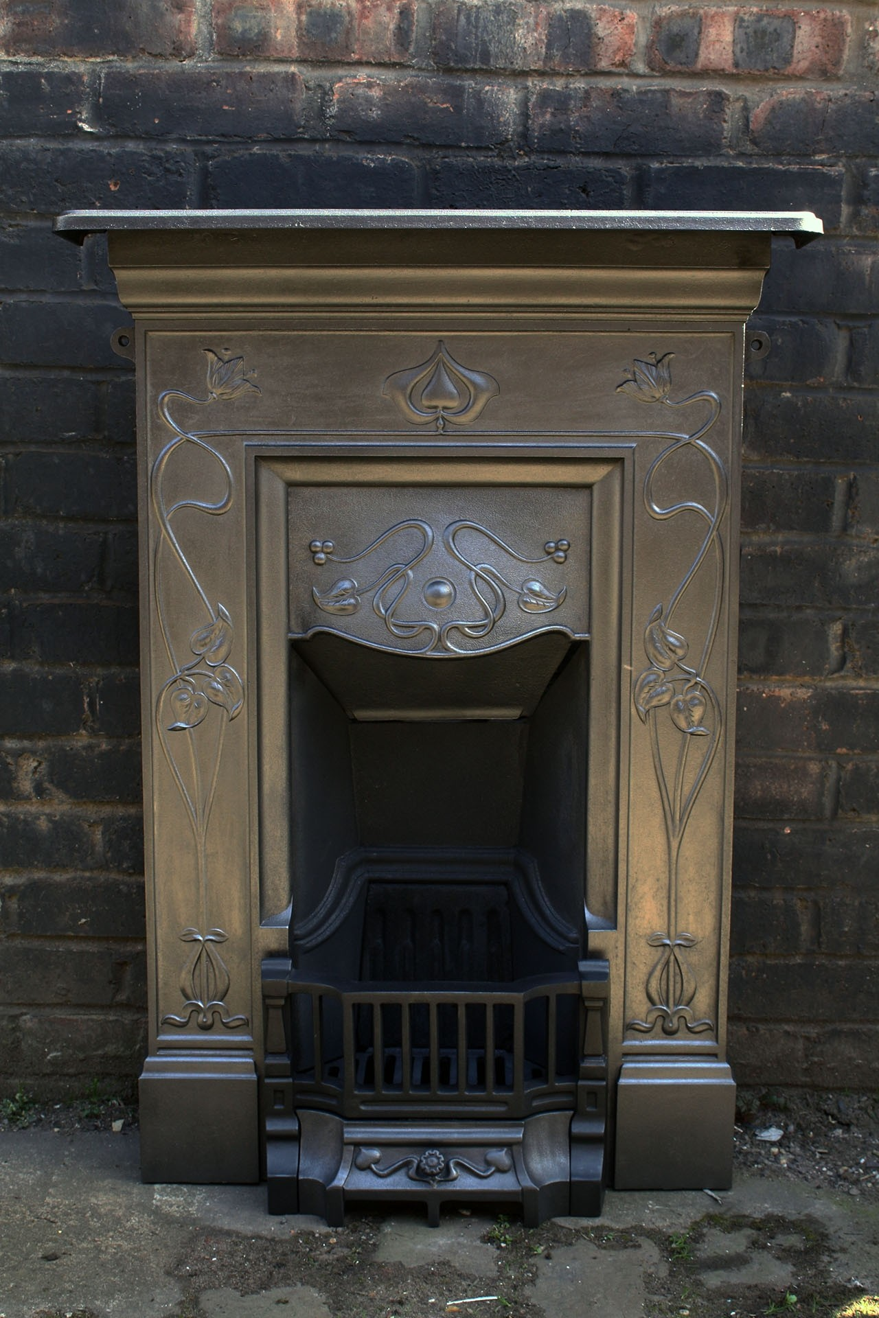 Old Antiqueedwardian Combination Cast Iron Fireplace