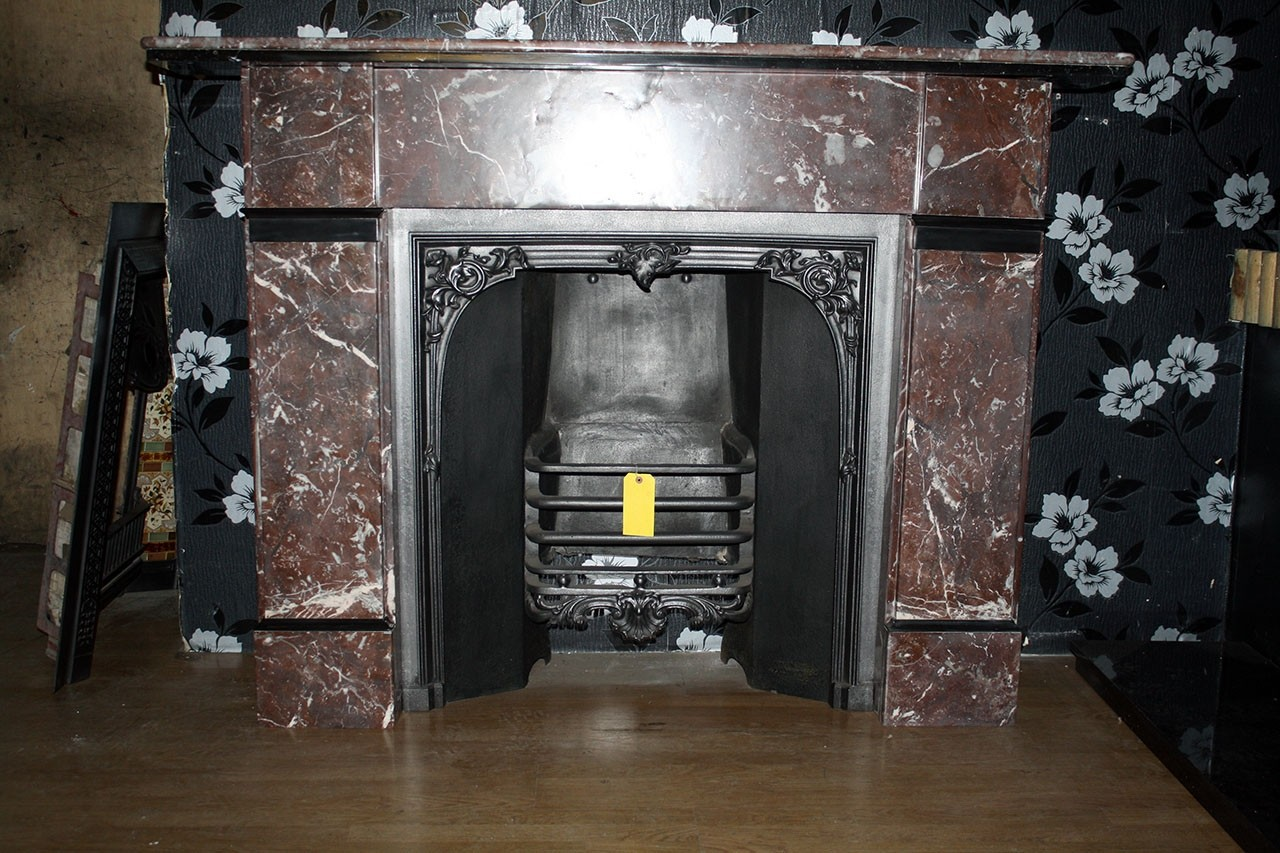 Late Victorian Fire Surround In Marble Rouge Marble