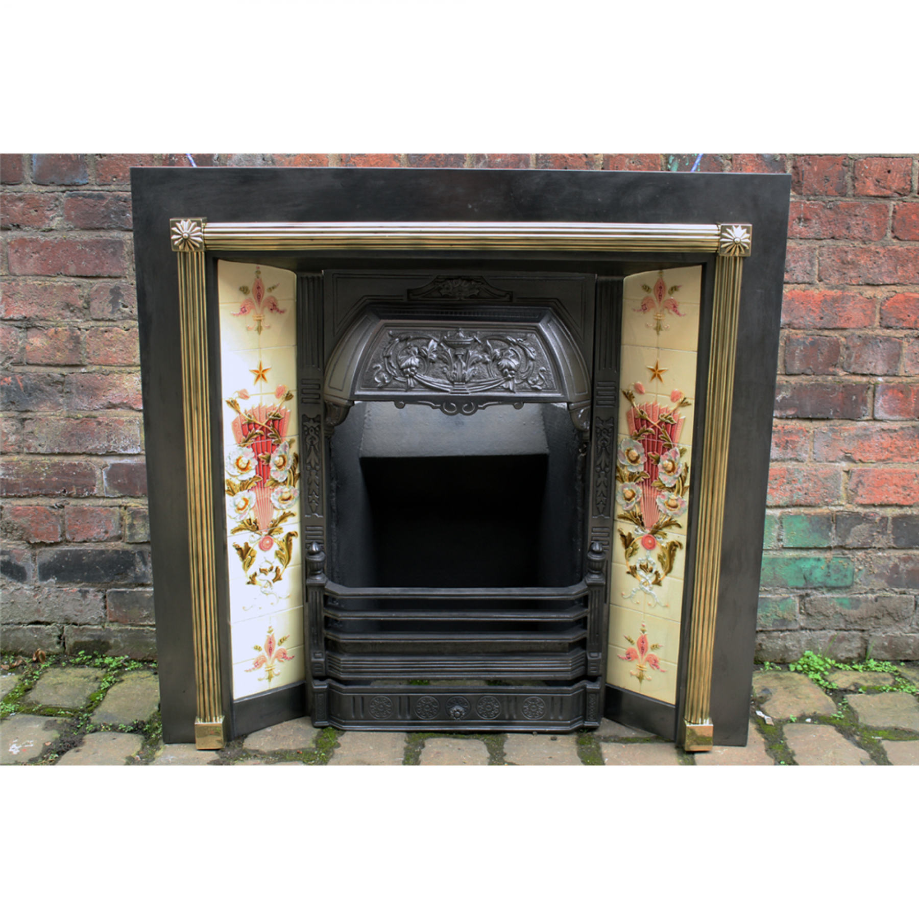 Victorian Cast Iron Fireplace Tiled Grate