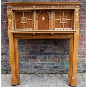 Edwardian Fire Surround In Oak Arts & Crafts Oak Fire Surround - Wood