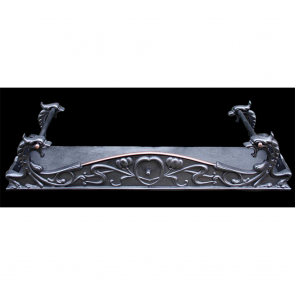 Edwardian Fire Fender In Cast Iron Art Nouveau