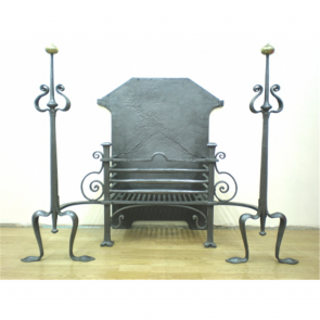 Edwardian Fire Basket In Cast Iron Art Nouveau