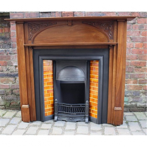 Edwardian Fire Surround In Wood Arts & Crafts Mahogany