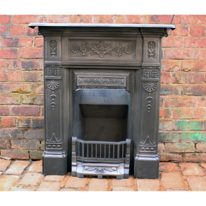 Original Reclaimed Victorian Combination Grate Combination Fireplace