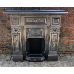 Large Antique Victorian Combination Fireplace