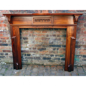 Late Victorian Original Antique Reclaimed Walnut Fire Surround