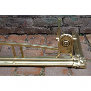 Edwardian Fire Fender In Brass Art Nouveau