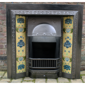 Antique Edwardian Cast Iron Tiled Fire Insert