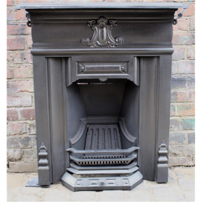 Edwardian Combination Grate In Cast Iron With Central Cartouche