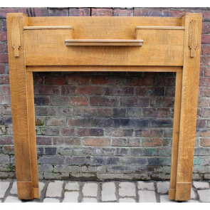 Edwardian Fire Surround In Oak Art Deco Oak Fire Surround - Wood