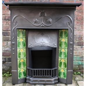 Art Nouveau Pomegranate Tiled Combination Fireplace