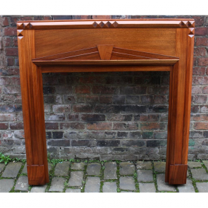 1920'S Fire Surround In Mahogany Art Deco Mahogany Fire Surround - Wood