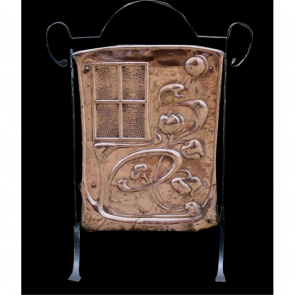 Victorian Firescreen In Copper Art Nouveau