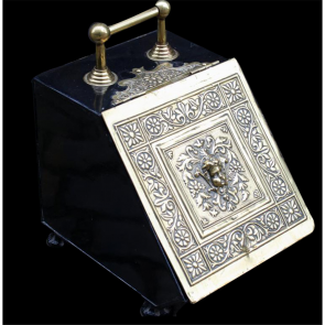 Victorian Coal Holder In Brass Victorian Coal Box